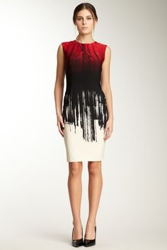 Calvin Klein Ombre Print Ruched Dress
