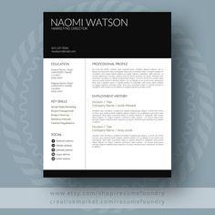 Modern Dwell Resume Template / CV Template + Cover Letter for Microsoft Word | One, Two, Three Page Resume Design | References by ResumeFoundry