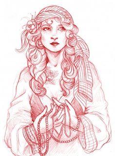 gypsy girl sketch by ~Longwave on deviantART
