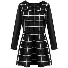 Black Womens Crew Neck Long Sleeve Plaid Knit Skater Dress ($39) ❤ liked on Polyvore featuring dresses, black, black longsleeve dress, knit dress, kohl dresses, black skater dress and tartan dress