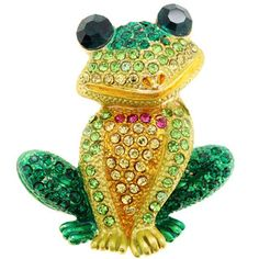 @Overstock - Green Frog Animal Brooch - This bright frog pin brooch features an antiqued finish and pin clasp. Swarovski crystals adorn the entire face of this colorful pin.   http://www.overstock.com/Jewelry-Watches/Green-Frog-Animal-Brooch/8569949/product.html?CID=214117 EUR              15.82