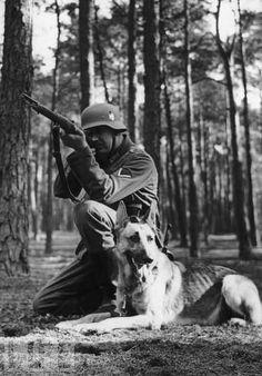 A man and his dog at work.