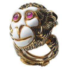 DAVID WEBB Ruby, Enamel, Diamond and Gold Monkey Ring