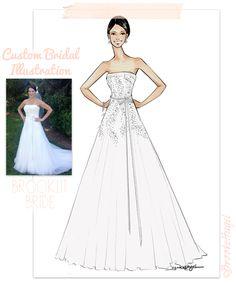 Custom Bridal Illustration Wedding Gifts, bride illustration by Brooke Hagel