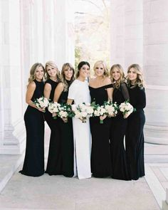 A Modern, Black-Tie Wedding in Washington, D.C.   Martha Stewart Weddings - Arielle's six best friends from college served as her bridesmaids, and wore different black dresses from Alice & Olivia, Norma Kamali, Nicole Miller, and Halston Heritage.