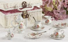 NIB Sweet & Charming 'Dainty Sue' Tea Set for Two in Posh White Basket by Delton