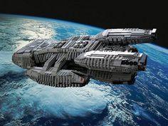 Lego Battlestar Galactica I need this!!! Kampfstern Galactica, Battlestar Galactica, Lego Tv, Pintura Exterior, Lego Ship, Lego Spaceship, Space Battles, Lego Construction, Lego Worlds