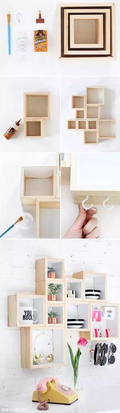 Pequeña estantería con cajas de madera / Via http://ispydiy.com/