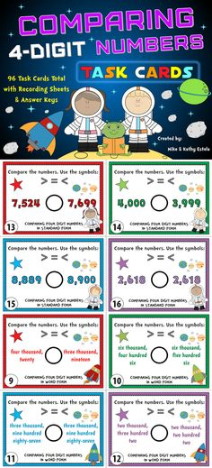Comparing Numbers Task Cards {Compare 4-Digit Numbers} $