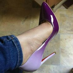 Pointed Toe Party Stiletto Pumps A popular and classy pair of pointy stiletto pumps. Featuring extreme thin heels and a pointed-toe silhouette. Hot Shoes, Crazy Shoes, Me Too Shoes, Stiletto Pumps, Pumps Heels, Purple Shoes, Purple Ombre, Purple High Heels, Purple Rain