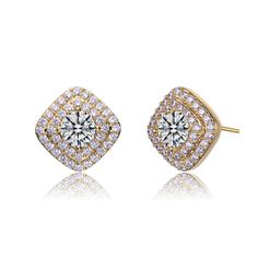 Collette Z Gold Plated Clear Cubic Zirconia Pave Stud Earrings