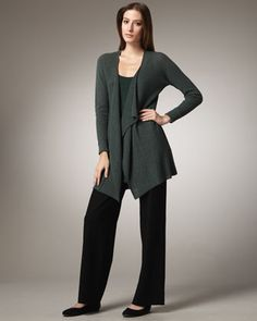 Washable-Wool Ribbed Cardigan, Silk-Jersey Tunic & Washable-Crepe Wide-Leg Pants