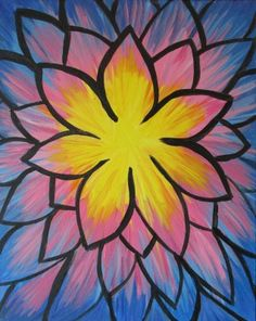 Tie Dye Flower- Blue paintnite.com #paintnite #DIY