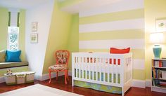 baby room adjustments - white stripes, bright contrast colors