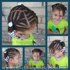 Cornrowed ponytails and bangs #girl #hair #style #beads