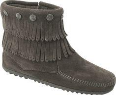 Minnetonka Double Fringe Side Zip Boot - Grey Suede - Free Shipping & Return Shipping - Shoebuy.com