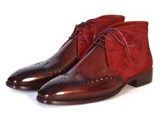 Paul Parkman Men's Chukka Boots Bordeaux Suede & Leather – Styles By Kutty Mens Shoes Boots, Mens Boots Fashion, Shoe Boots, Men's Shoes, Handmade Leather Shoes, Suede Leather, Leather Boots, Real Leather, Gentleman Shoes