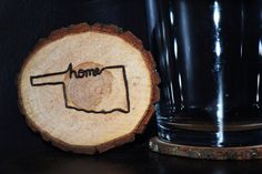 Set of 4 - Handcrafted 'State Home' Woodburned Coasters by ZSDesign on Etsy