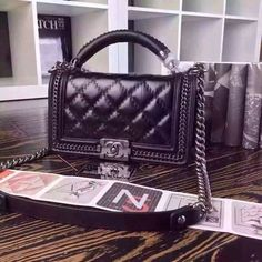Chanel LEATHER BOY CHANEL FLAP BAG WITH TOP HANDLE on Carousell