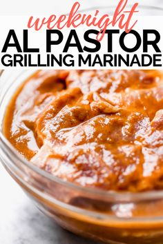 Made with fresh pineapple, orange juice, & chiles, this easy al pastor marinade is perfect for whenever you're craving sweet heat with some Mexican flare! Pork Marinade, Pollo Al Pastor Recipe, Shawarma, Alpastor Recipe, Al Pastor Meat, Grilling Recipes, Cooking Recipes, Sauces, Mexico