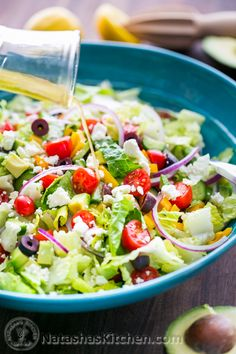 Greek Salad with Zesty Lemon Dressing. Easy, healthy, fresh and delicious. Via Natashas Kitchen