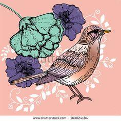 Bird floral illustration vector