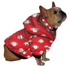 French Bulldog Hoodie Sweatshirt - Monkey Face on Red Fleece