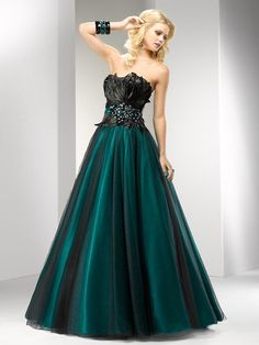 A-line Strapless Tulle Floor-length Sleeveless Feathers / Fur Formal Dresses at sweetquinceaneradress.com