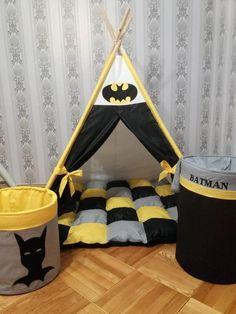 Teepee Set Teepee Tent Teepee For Superheroes Batman Boys Play Tent, Boys Teepee, Kids Tents, Teepees, Kids Wigwam, Diy Kids Teepee, Toddler Rooms, Baby Boy Rooms, Toddler Bed