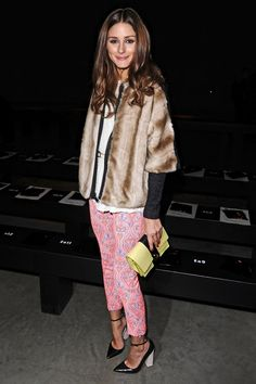Olivia Palermo- her statement trousers teamed with faux fur jacket and killer heel