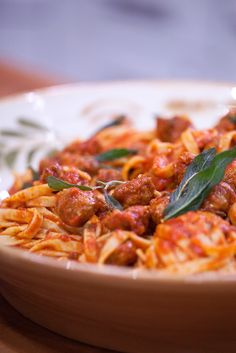 This delicious pasta recipe calls for Italian sausage and tomato sauce. Try making this 5-ingredient recipe when you're looking for an easy and simple dinner.