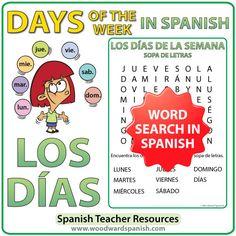 Spanish Days of the Week word search. Sopa de Letras con los días de la semana en español.
