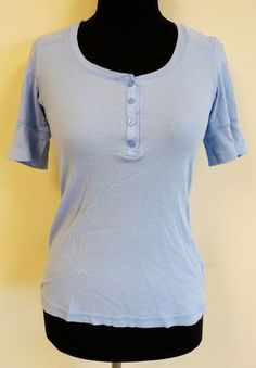 Cute light blue simple stretch button blouse top 3/4 sleeve by Delia's sz L