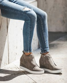 New In Town Faux Suede Wedge Sneaker - Taupe 0535a0ec9