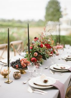 Vineyard tabletop with dove gray linens, bright florals, brass accents, cut crystal, place settings of white china and fresh grapes. Purple Wedding, Floral Wedding, Wedding Flowers, Summer Wedding, Flower Decorations, Wedding Decorations, Table Decorations, Wedding Designs, Wedding Styles