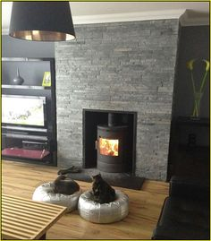 Slate tiled over red brick fireplace with boxed down Hearth | Yard ...
