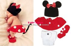 Free Shipping  4pcs Infant Kid Newborn Baby Girl Hat+Skirt+Pants+Shoes Crochet Knitted Prop Outfit Clothes Costume Minnie Red $16.99