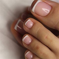 Hair french tip toe nails, french tip nails with design on ring . - Hair french tip toe nails, french tip nails with design on ring finger, french tip - Pretty Toe Nails, Cute Toe Nails, Love Nails, Simple Toe Nails, Style Nails, Us Nails, How To Do Nails, Acrylic Toe Nails, Almond Acrylic Nails