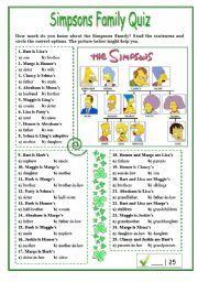 English worksheet: Simpsons Family Quiz