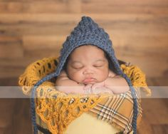 Crochet newborn pixie Bonnet baby hat Ripple Bonnet photo prop by BitofWhimsyCrochet