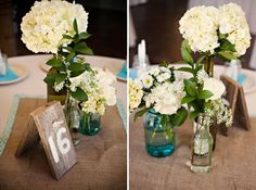 burlap table runner with border, blue ball jars, and cute wood numbering, I like it all!