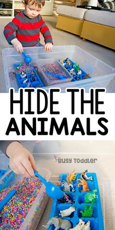 Hidden Animals Sensory Bin: A quick and easy sensory bin; toddler activity; easy indoor activity; rainy day activity; learning with toddlers from Busy Toddler