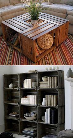 muebles con palets, estantería de pared, mesita de decoración