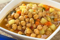 Crockpot Chickpea Veggie Soup - Sub sweet potatoes for the white potatoes - Phase 3 With the potato substitution and with no oil, Phase 1 Veggie Soup Recipes, Dog Food Recipes, Vegetarian Recipes, Cooking Recipes, Healthy Recipes, Chickpea Recipes, Skinny Recipes, Sweet Potato Soup, Roasted Sweet Potatoes