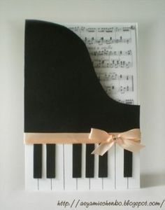 This is a card, but I think it could be adapted for a scrapbook page for my daughter's piano recitals. Cute Cards, Diy Cards, Step Card, Tarjetas Diy, Shaped Cards, Creative Cards, Scrapbook Cards, Homemade Cards, Making Ideas