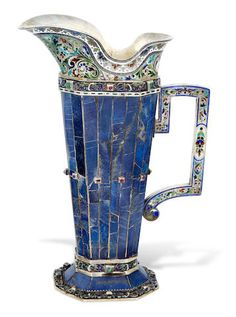An Austrian lapis-clad and enameled 800 standard silver ewerprobably by Hans Bauer, Vienna, 1866-1922
