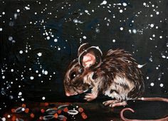 Acrylic Mouse Painting  Midnight Vole by rachelledyer on Etsy