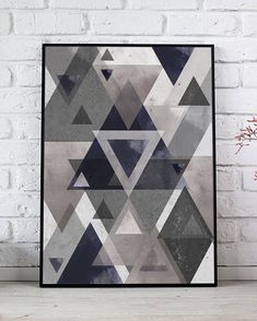 Geometric Triangles Print, Scandinavian Abstract Poster, Minimalist Wall Art, Watercolor Triangles Poster, Geometric Illustration Printable  HD digital download sized to fit standard frames, print from print shop or your computer.  You will receive - 8 x 10 inch jpg 11 x 14 inch jpg 16 Printable Art, Printables, Triangle Print, As You Like, Triangles, Scandinavian, Frames, Minimalist, Display