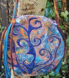 Mystic Tree Nuno Felt Bag Felt Bag Festival Bag Pixie by folkowl