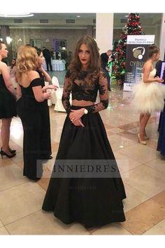 1d3d8d195032 Black Long Sleeve Two Piece Prom Dress Black Evening Dresses